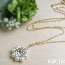 グリーンアメシストx淡水真珠 ネックレス