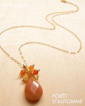 オレンジのしずくとカラフルな天然石のネックレス K14GF
