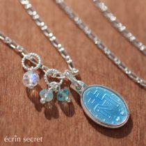 不思議のメダイ+天然石チャームのネックレス Silver925